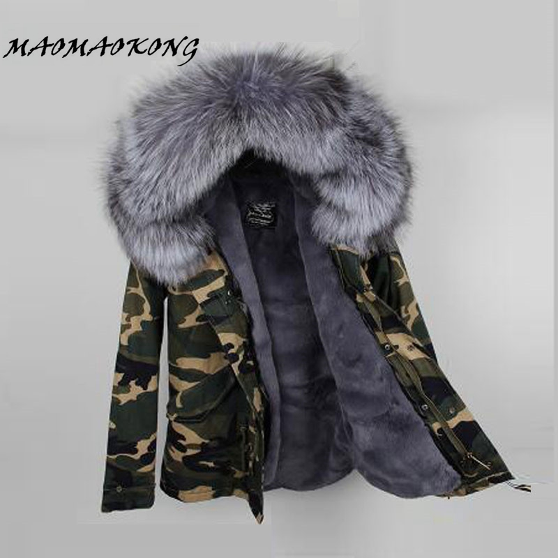 2017 Women Winter Camo Parkas Large Raccoon Fur Collar Hooded Coat Outwear 2 in 1 Detachable Lining Winter Jacket Brand Style 1