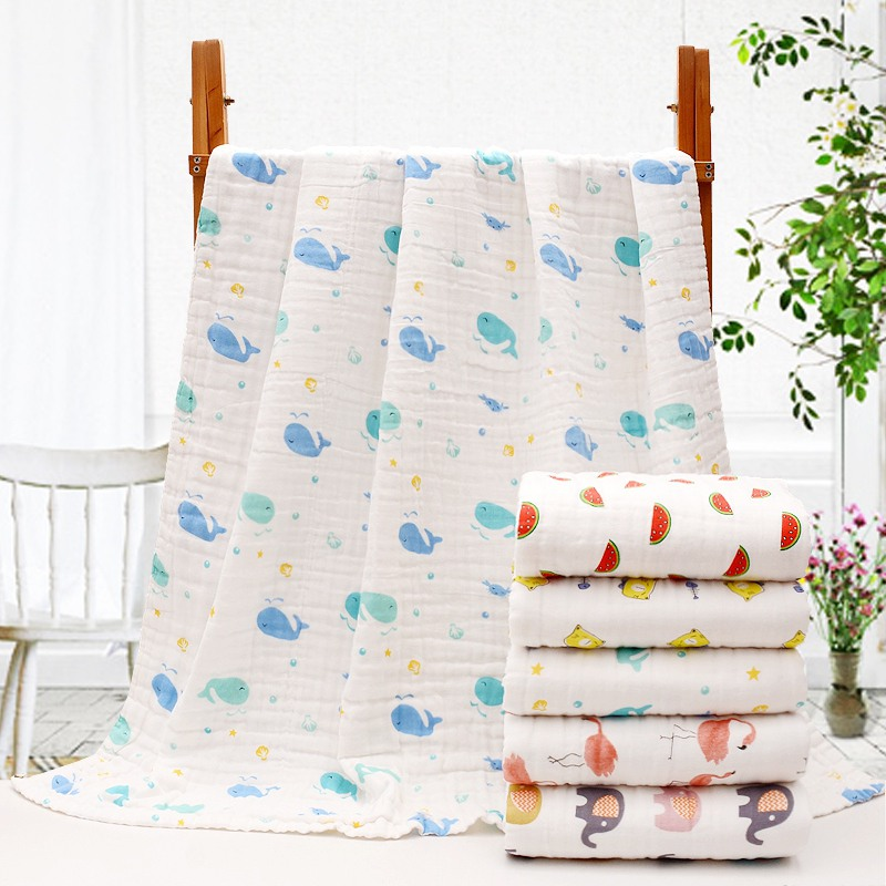 110x115cm Summer Cool Baby 6 Layer Bath Towel Soft Swaddling Blanket Newborn Infant Gauze Swaddle Towel Breathable Baby Stuff