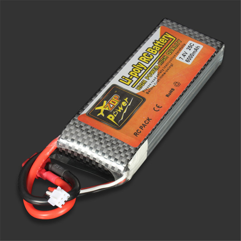 ZOP Power LiPo Battery 7.4V 6000MAH 25C T Plug For RC Quadcopter Drone Helicopter Car Airplane 1pcs lion power lipo battery 11 1v 1200mah 25c max 40c t plug for rc car airplane helicopter