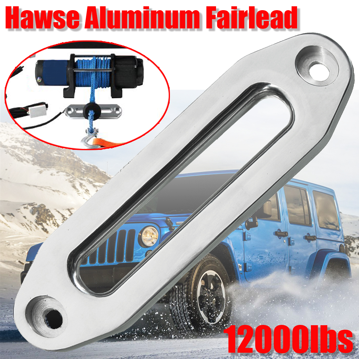12000 Lbs Winch Rope Guide Silver Hawse Aluminum Fairlead For Off Road 4WD