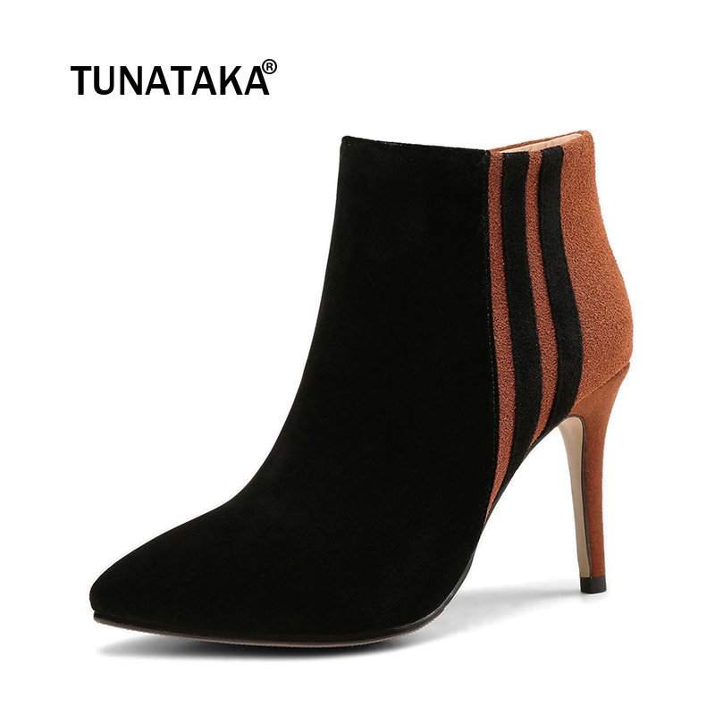 Suede Thin High Heel Mixed Color Woman Ankle Boots Fashion Pointed Toe Zipper Ladies Boots Black 2016 new fashion ankle boots high quality leather metal zipper decorated pointed toe high thin heel basic boots for woman