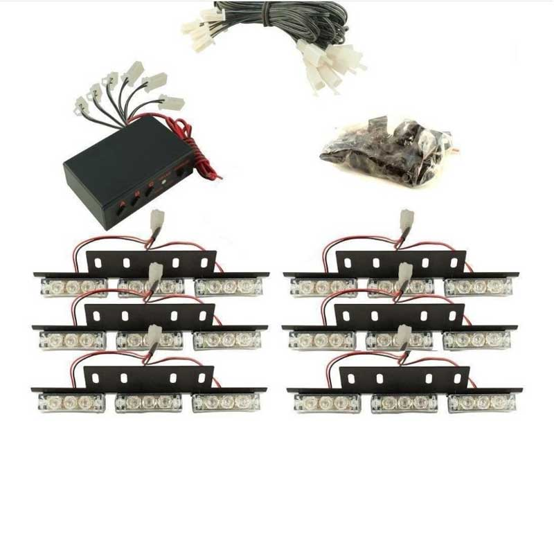 Free Shipping 6x9 54LED  Car Truck Vehicle Grill Emergency Flash 3 Modes(A.B.C) warning light  RED