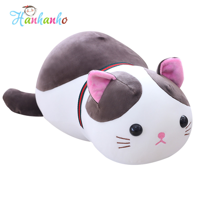 Super Soft Cute Cat Plush Toy Baby Sleeping Pillow Stuffed Animal Kitty Kids Doll Birthday Gift 1pc 65cm cartion cute u shape pillow kawaii cat panda soft cushion home decoration kids birthday christmas gift