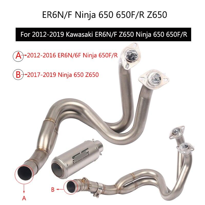 (Système d'échappement complet) pour 2012-2019 Kawasaki Z650 ER6N ER6F Ninja 650 650R 650F sans lacet 51mm embouts tuyau de silencieux de moto