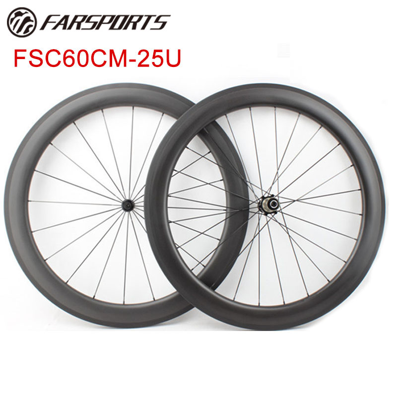 FarSports 60mm depth carbon wheels clincher 25mm width road bike wheels Bitex 303 hubs 290g/pair at factory price