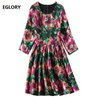 Beautiful Dress 2019 Spring Summer Party Bridesmaid Ladies Dresses O Neck Charming Flower Print 3/4 Sleeve A Line Dress Pretty