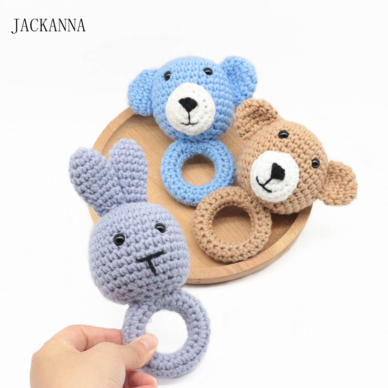 1pc Animal Rabbit Bear Crochet Wooden Ring Rattle Wooden Teether Baby Products DIY Crafts Teething Rattle Amigurumi Of Toys