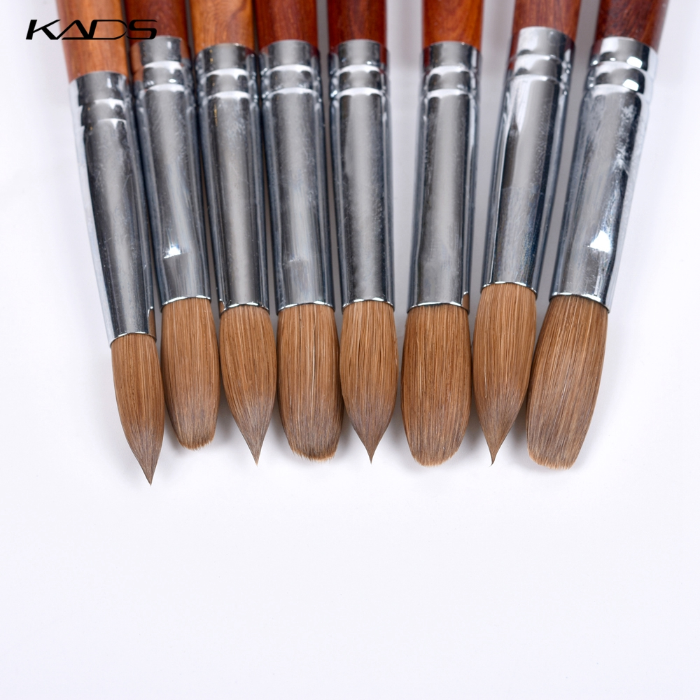 100% Kolinsky Sable Acrylic Nail Brush Red Wood Nails Art Pen Acrylic Gel Nail Brush Nail Art Brush Set Poly Gel Builder Brushes