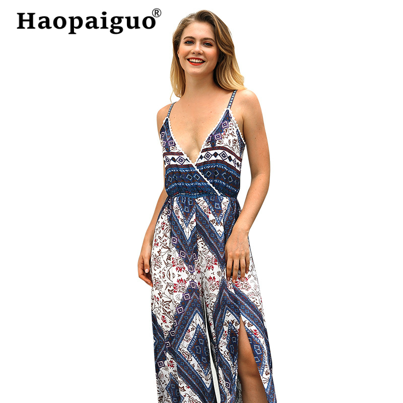 Plus Size Vintage Jumpsuit Women 2019 Summer Blue/ Red Slim Wide Legs Printed Geometric Bohemian for
