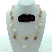 N092619 40 White Rice Pearl Golden Titanium Crystal Drusy Chain Long Necklace