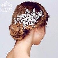 Luxury Gorgeous Handmade White Flowers Bridal Headband Wedding Rhinestone Hairpins Royal Hair Bridal Wedding Accessories Jewelry
