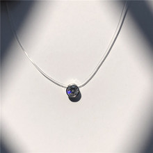 SUMENG Female Transparent Fishing Line Necklace Silver Invisible Chain Necklace Women Rhinestone Choker Necklace Collier Femme