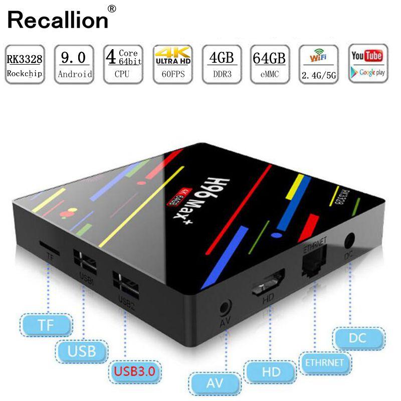 H96 MAX Plus Smart TV Box Android 9.0 TVBox 4 GB Ram 32 GB/64 GB Rom Rockchip RK3328 4 K H.265 USB3.0 2.4 Ghz WiFi IP TV décodeur