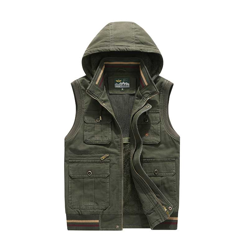Erkek Kıyafeti'ten Jileler ve Yelekler'de Sonbahar Kış Kapüşonlu Moda Yelek Polar Kolsuz Ceket Ceket Erkekler Rahat Yelek Yelek Kalın Sıcak Yelek Çok Büyük Cep Artı Boyutu'da  Grup 3