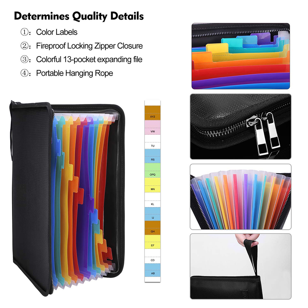 13 Pockets Multicolored A4 Size Protective Fireproof File Folder Paper Zipper Bill Accordion Organizer Expanding Document Bags