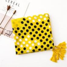 KYQIAO vrouwen geel hijab sjaal mori meisjes herfst lente Spanje stijl mode etnische lange geel gedrukt sjaal Moslim Hijab