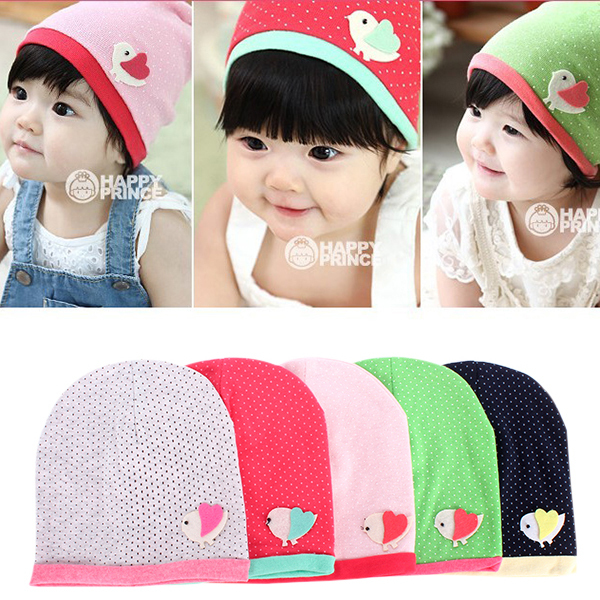 Spring/Fall Girls Kids Baby Soft Cotton Birds Pattern Dots Candy Color Beanie Hats Caps baby s cute floral pattern two way pur cotton spring fall cloak w hood deep blue