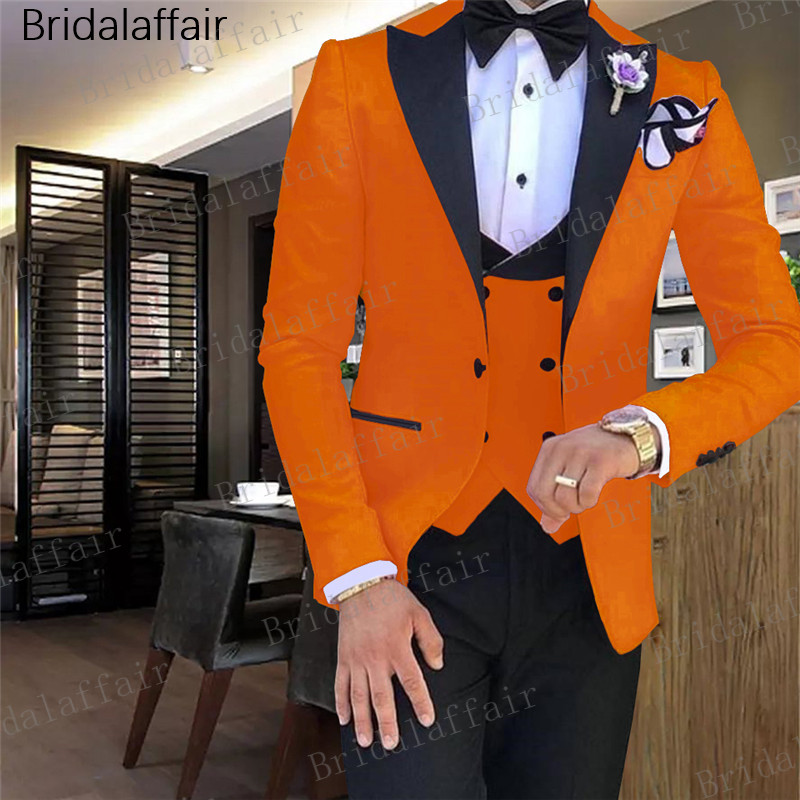 Gwenhwyfar Blazer Solid Color Orange Red Business Casual Mens Suits Wedding suit for Bridegroom Formal Tuxedo (Jacket+Pants+Vest-in Suits from Men's Clothing    1