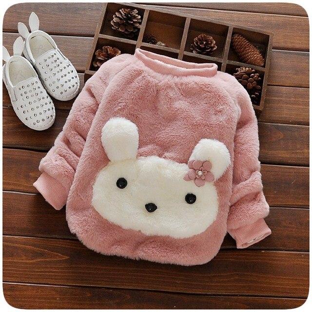 Fashion Autumn Warm Winter Baby Velvet Faux Fur Kids Girls Cute Cartoon Cat Sweater Thicken Outwear Pullover Tops Camisola S4125