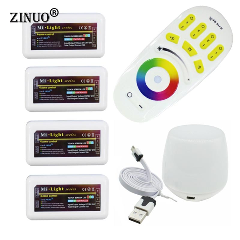 ZINUOMilight RGB RF Remote Controller + 4PCS 4 Zone Controller Box + Led WiFi Controller For 5050 3528 RGB Led strip LED Bulbs mi light wifi controller 4x led controller rgbw 2 4g 4 zone rf wireless touching remote control for 5050 3528 led strip