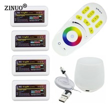 ZINUOMilight RGB RF Remote Controller + 4PCS 4 Zone  Controller Box + Led WiFi Controller For 5050 3528 RGB Led strip  LED Bulbs