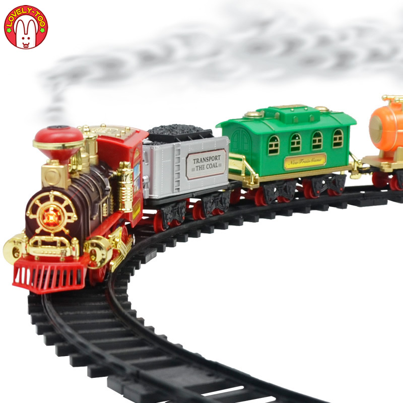 Train Toys Railway Toy Cars Racing Track With Carriage Sound And Light Electric Express Truck DIY Toys For Children