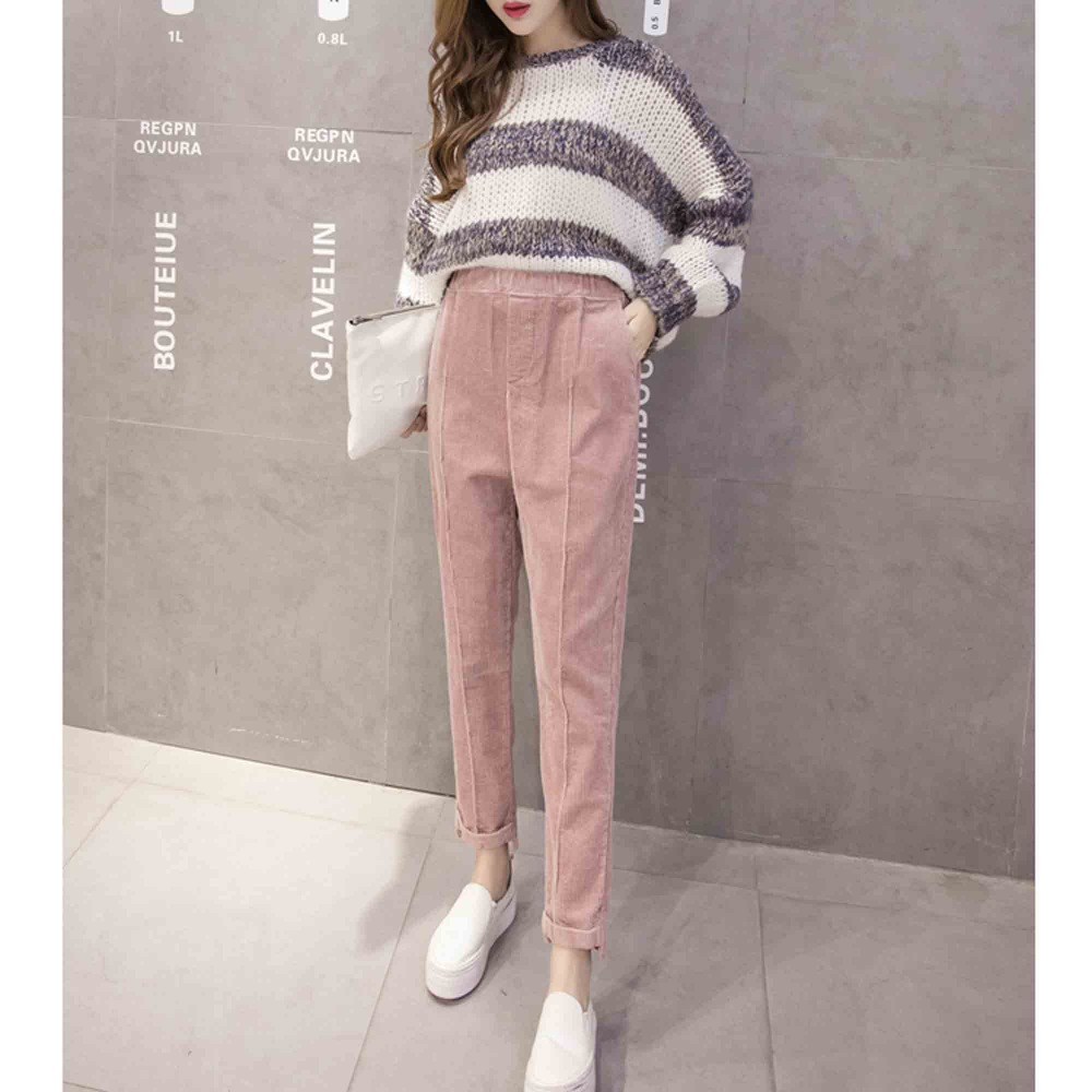 New Spring Fashion Casual Women Harem Pants OL Office Wear Korean Plus Size Corduroy Radish Pants Leisure Loose Trousers