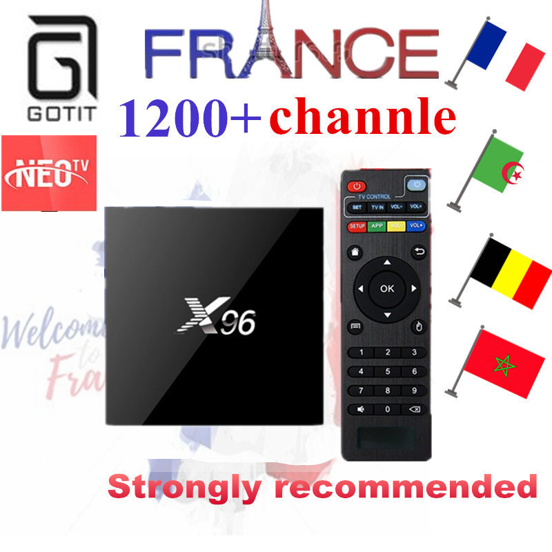 French IPTV X96 2G16G Amlogic S905X Quad Core Android 6.0 Smart TV Box+ 1000+NEOTV IPTV Europe Arabic Belgium Pay TV Set Top Box hot x96 tv box 2gb 16gb s905x quad core 2 4ghz wifi hdmi smart set top box with iudtv iptv abonnement french arabic iptv top box