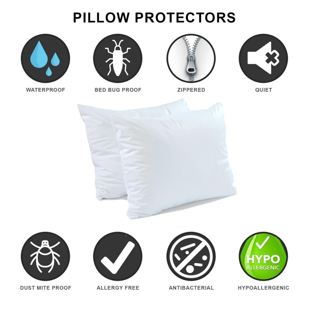 LFH 50X70CM Home Smooth Waterproof Pillow Protector Hypoallergenic Dust Mite Bed Bug Resistant Zippered Pillow Covers Set of 2