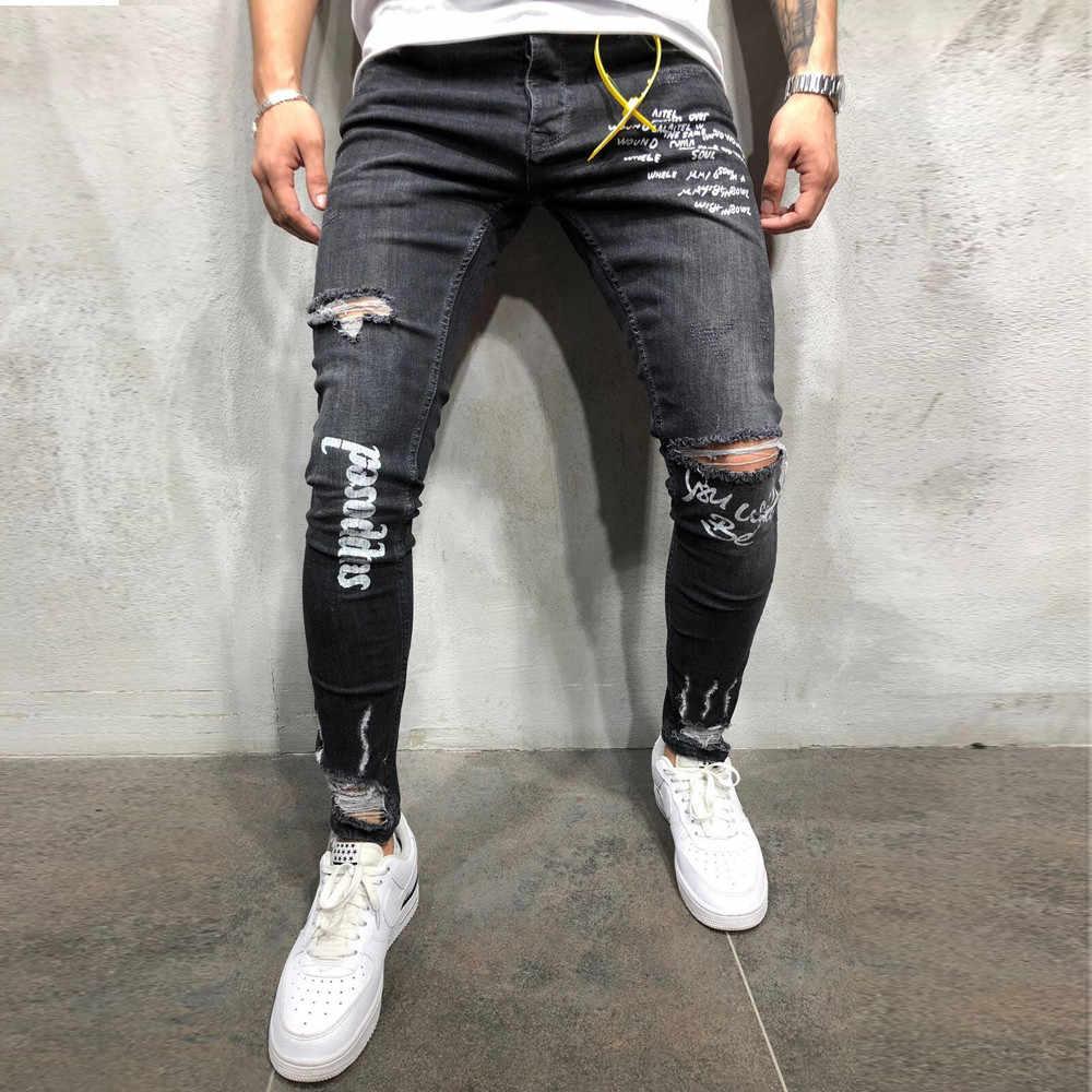 1416b191dc Jeans Men s New Black Elastic Foot Holes Print Letter Pant Fashion Jeans  Pantalones Vaqueros Para Hombre