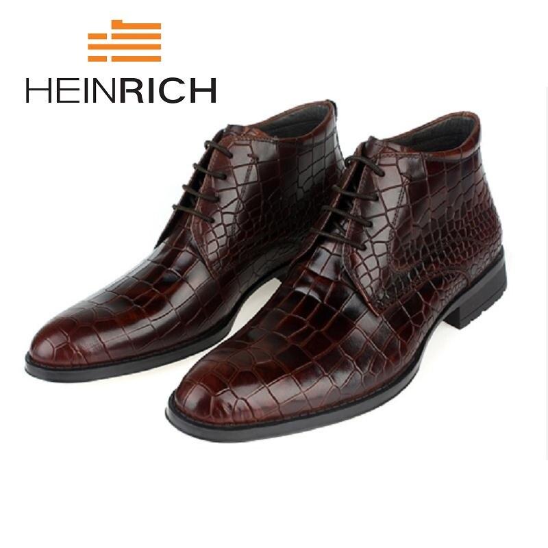 Padrão Masculino Calçado Tenis brown De Sapatos Couro Heinrich Genuíno Black Homem Adulto Homens Botas Inverno Dos Tornozelo Novo Pedra 6UUnOHPqxZ