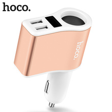 цены HOCO Z10 Car Charger Digital Display Dual USB Charging Lighter Slot for iPhone iPad Samsung Xiaomi Phone Adapter Car-charger