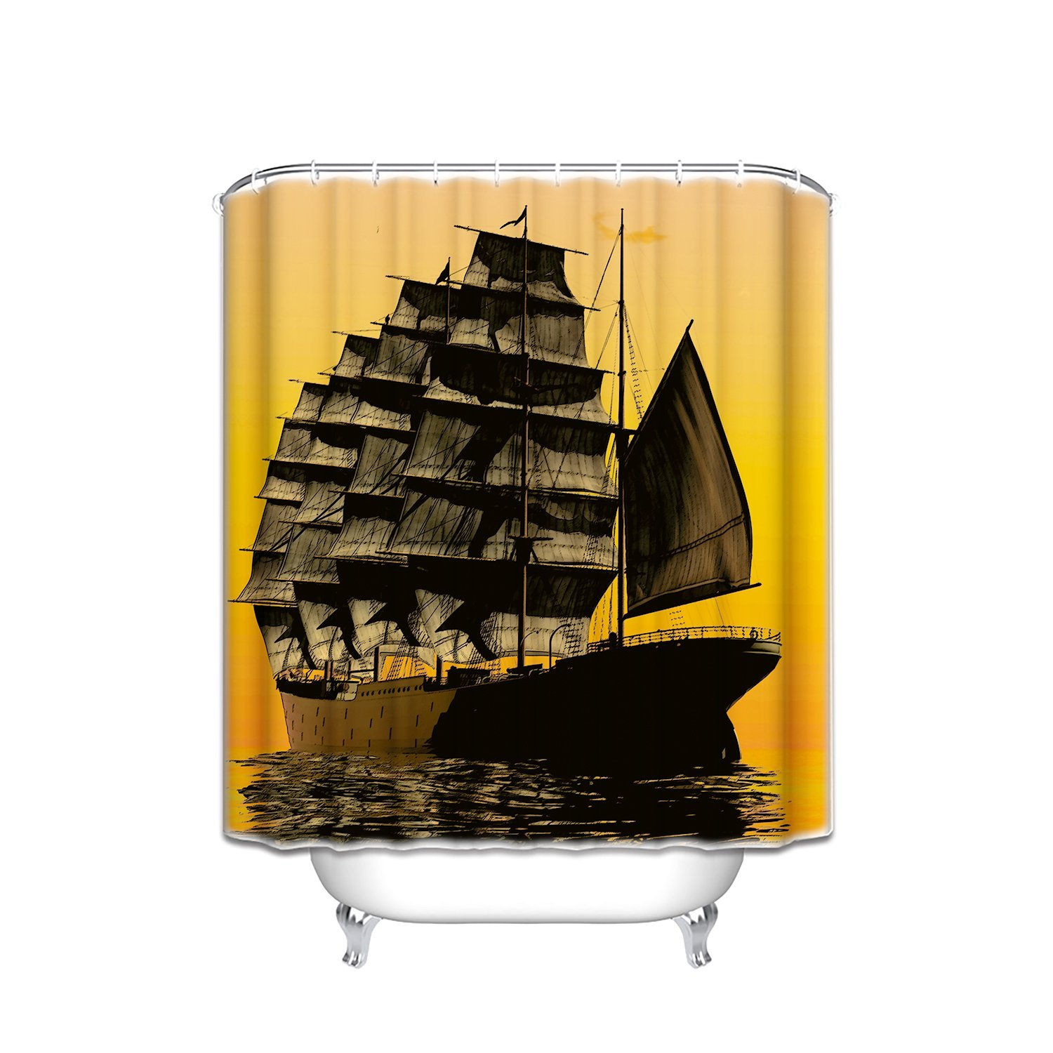 memory home sailboat decor shower curtain set sailing with sunset sunbeams on horizon romance honeymoon bathroom