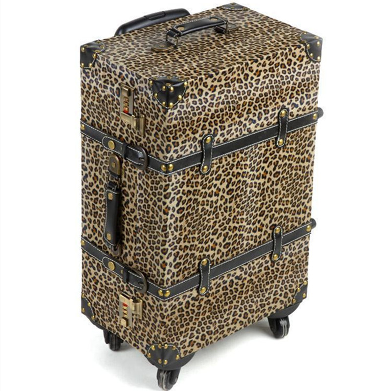 14,20,24 inch Women Vintage rolling Luggage Sets PU Travel Suitcases,Leopard Print Spinner Trolley Bags Suitcase girls Bag