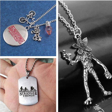 Hot New Movie Stranger Things Necklace Cosplay Badge Accessories Eleven Letter Metal Necklace Demogorgon Pendant Fancy Gift