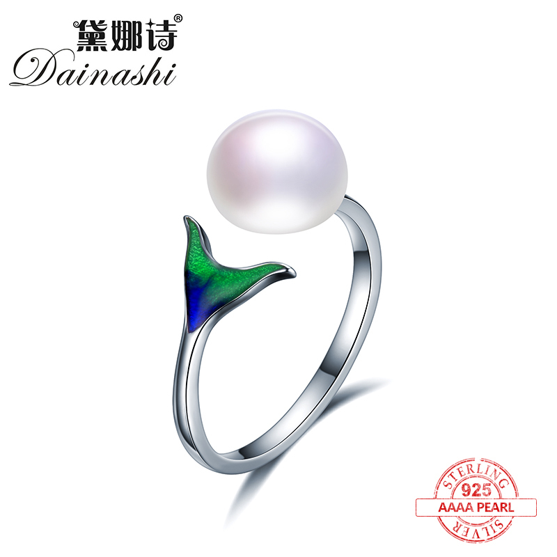 Dainashi Unique dolphin tail design Enamel material 925 sterling silver adjustable pearl rings fine jewelry for women gifts