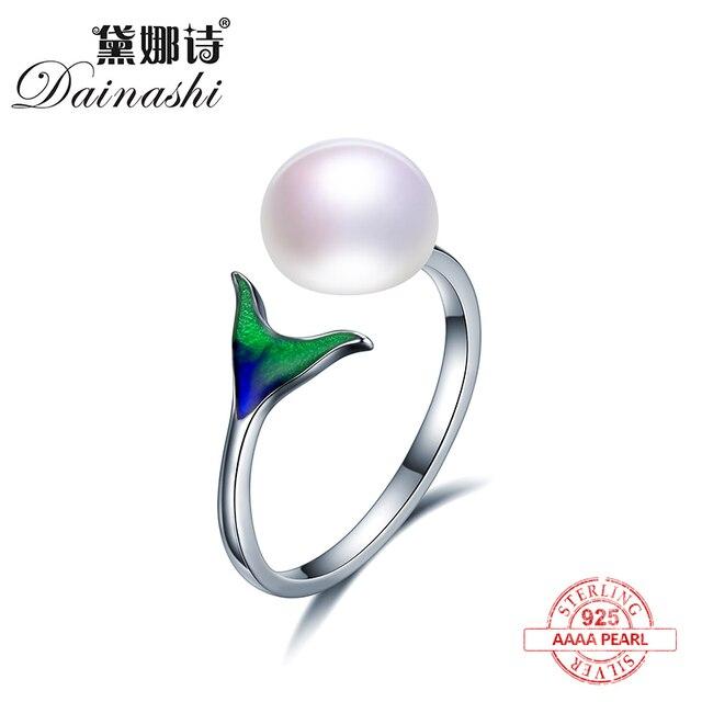Dainashi Unique dolphin tail design Enamel material 925 sterling silver adjustab