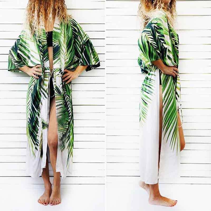 Bikini Cover Up Beach Dress Robe Bath Suits Tunic Cape 2018 Large Yards Cotton Green Leaf Print High Waist Pulled Skirt Female