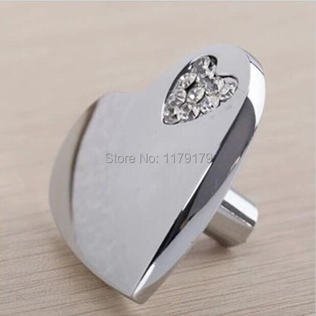 love heart glass crystal drawer knob pull silver kitchen cabinet handle knob chrome dresser cupboard furniture hardware handles