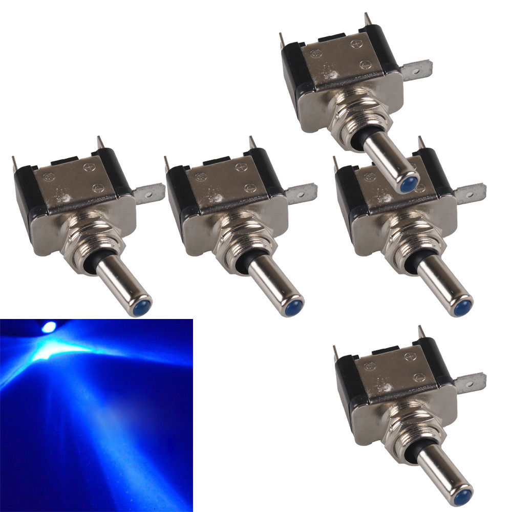 Ee Support 5 Pcs Colors Led Light Switch 12v 20a Rocker Toggle Spst On Off Car Styling Xy01