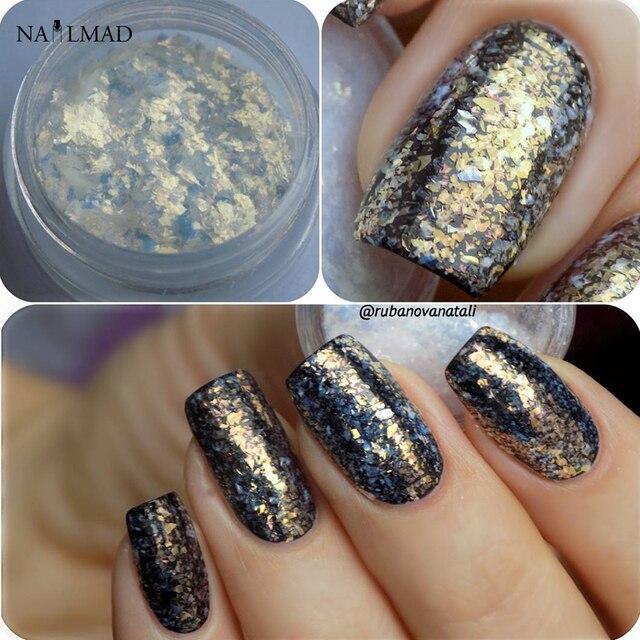 3 ml box chrom flakes bling nagel flecken pulver nail art. Black Bedroom Furniture Sets. Home Design Ideas