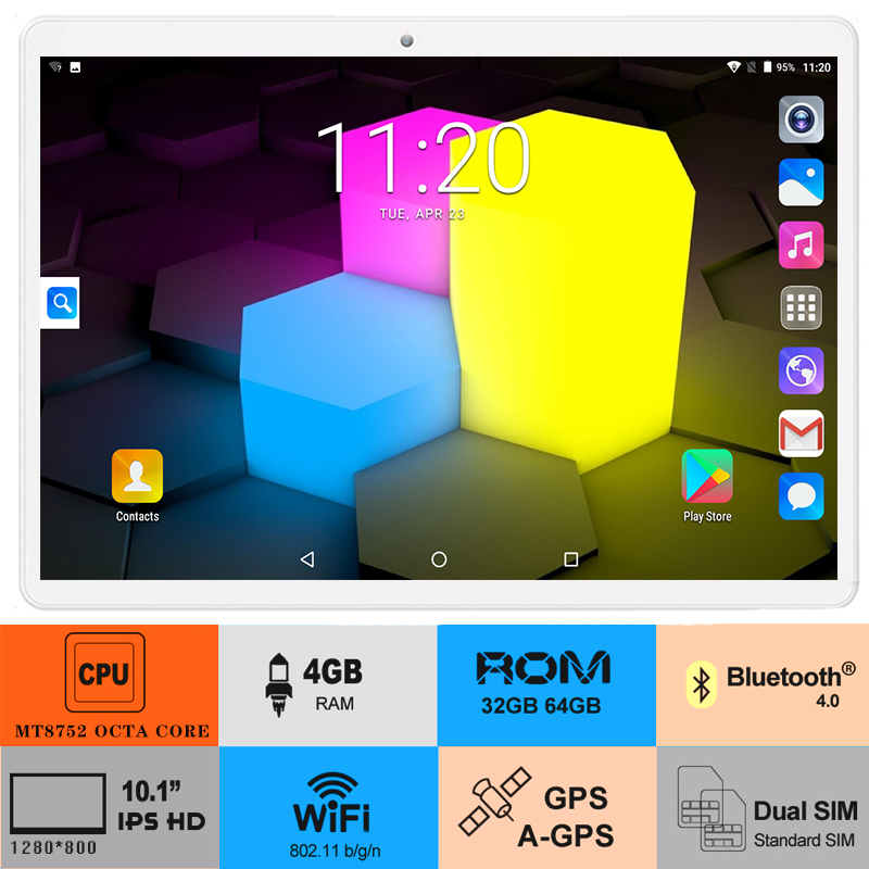 10inch Tablet Bluetooth Android Wifi 64GB-ROM OS Octa-Core LTE 1280x800 FDD 3G Gifts