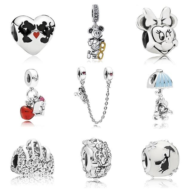 Новинка, бесплатная доставка, серебряное покрытие, бусины Микки, сказочное животное, любовь, шарм, подходит для оригинального браслета Pandora, ожерелье, сделай сам, женские Украшения