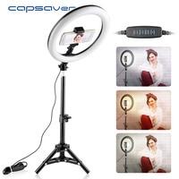 capsaver RL 10 Dimmable LED Ring Light 26cm USB Makeup Ring Lamp with Phone Holder Tripod for Selfie Camera Youtube Shoot