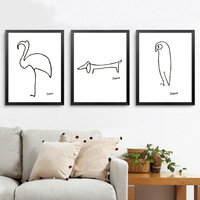 Pablo Picasso The Dog Print Canvas Abstract Animals Minimalist Wall Art Kids Room Bar Office Home