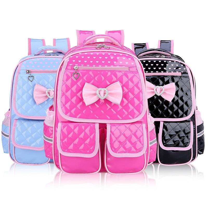 Girls Kids Princess Primary School Backpack Kid Pink Cute Bowknot Children PU Leather Backpacks Daypack Mochila Bag