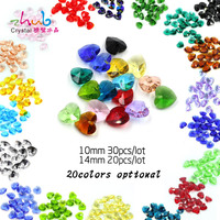 Wholesale Beads 10MM 14MM Vintage Style Crystal Glass Heart Loose Spacer Beads For Metal Accessories For