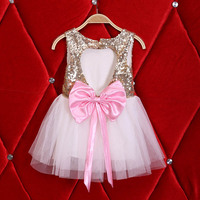 Baby Girls backless Clothes Dress Toddler Infant Girl Party Wedding Dresses 18m-6y bling bling big bow dress