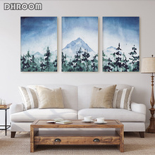 Watercolor Forest Landscape Painting Minimalist Canvas Print Scandinavian Art Poster Decorative Picture Paintings on The Wall
