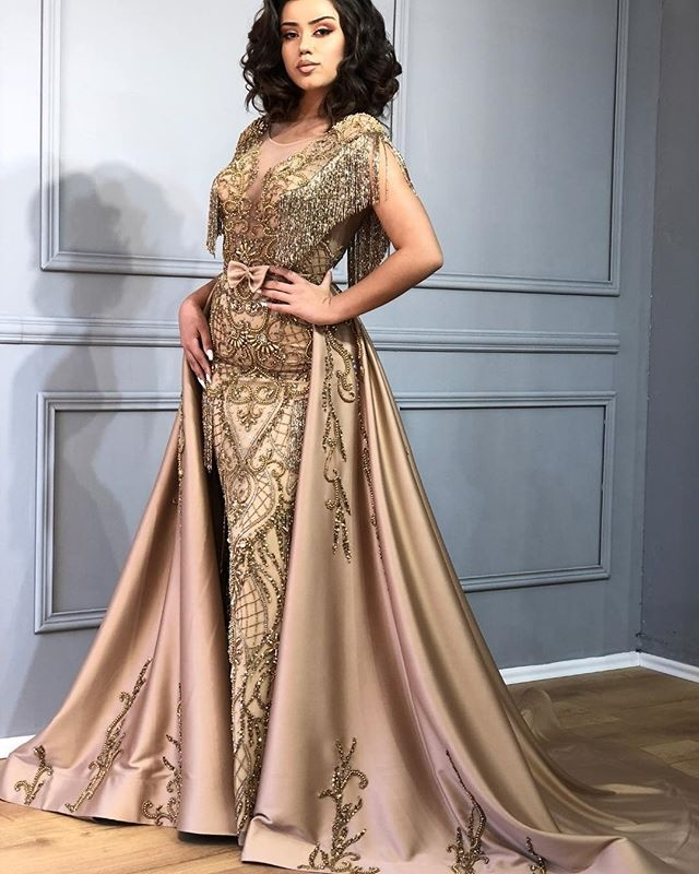 Dress With Detachable Train: 2019 Luxury Gold Heavy Beads Lace Mermaid Prom Dress With